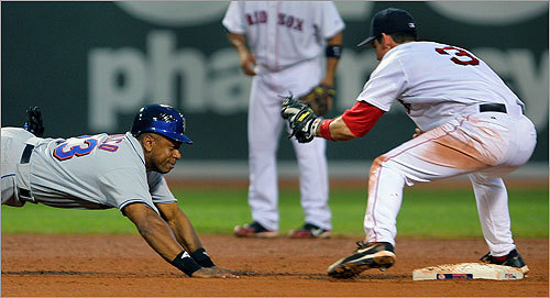 Julio Franco (pictured, sliding in a 2006 game at Fenway Park) earned the distinction of being the oldest regular position player in Major League history. His professional career spanned 25 years, from 1982 to 2007, ending at age 49. He was a 3-time All-Star, and was the MVP of the 1990 All-Star Game.