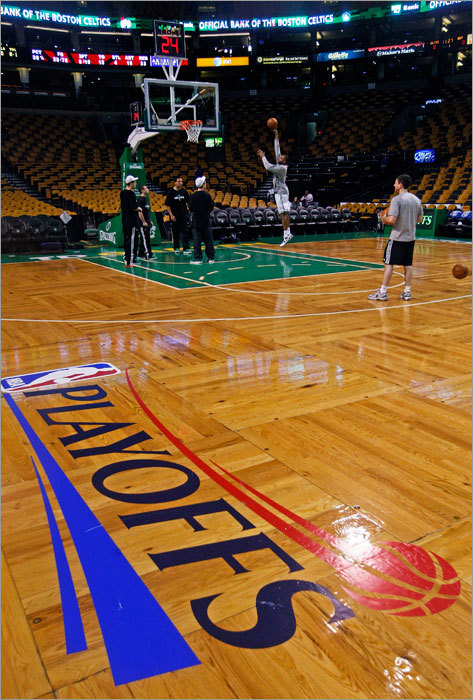 The Celtics Shelden Williams was out early working on his shot before the doors opened to the fans.