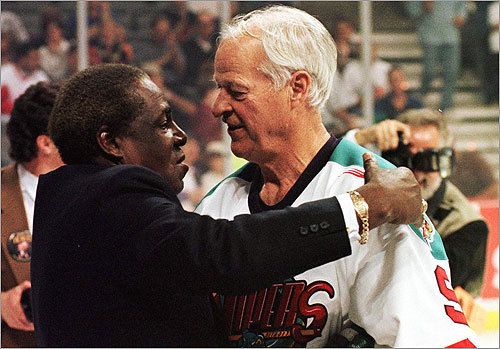 Outfielder Minnie Minoso played in parts of five decades, making his final appearance in 1980 at age 54. NHL Hall of Famer Gordie Howe also joined the five-decade club in 1980, playing alongside his son, Mark, at age 52 for the Hartford Whalers. But Gordie wasn't done. In 1997, he signed a one-game contract with the Detroit Vipers of the International Hockey League, marking the sixth decade in which he had played professional hockey. On that night in Detroit, Howe was congratulated by none other than Minnie Minoso (pictured).