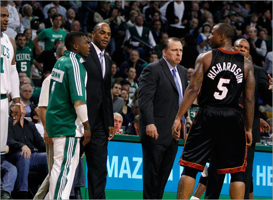 Miami's Quentin Richardson exchanged words with the Celtics' bench at the end of the first half.