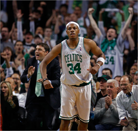 Celtics captain Paul Pierce brought the crowd out of their seats with a fourth-quarter shot that put Boston ahead 86-76. The Celtics held off the Heat and advanced to the second round of the NBA playoffs.
