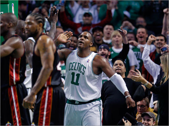 Celtics' Glen Davis was stoked after hitting a fourth-quarter shot and getting fouled in the process.