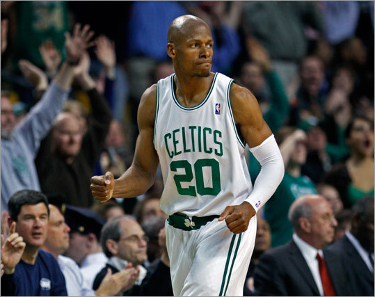 Ray Allen hit a 3-pointer in the second half. Allen was 5-for-6 on 3-point attempts and had 24 points.