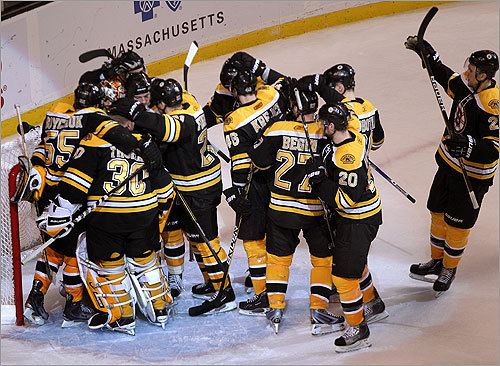 Boston held on over the final 1:13 for the series-clinching victory. Pictured, Bruins players saluted Rask after the game.
