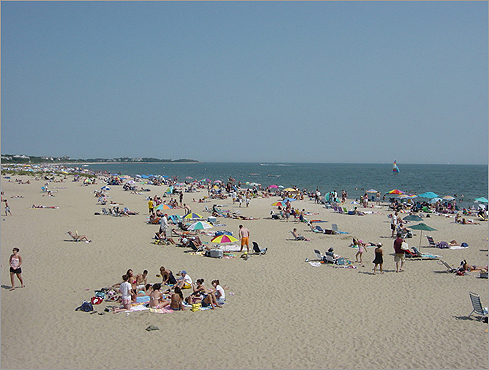 May 2005: Cape Wind received state approval to run two buried transmission lines through state waters to connect to the regional power grid. Centerville's Craigville Beach on Nantucket Sound in June 2009.