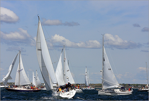 November 2002: A federal judge ruled against the lead opposition group and allowed Cape Wind to erect a test wind tower in Nantucket Sound. Pictured: Sailors positioned their boats before heading into Nantucket Sound during the Figawi 2008 sailing race in May 2008.