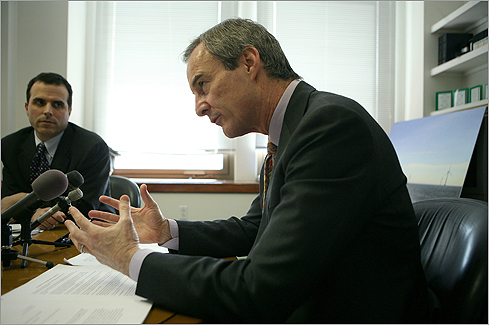 July 2001: Cape Wind Associates unveiled plans for 170 wind turbines in Nantucket Sound, the nation's first proposed offshore wind farm. The number of turbines was later reduced to 130. James Gordon (center), president of Cape Wind, talked to the press in March 2007 in Boston.