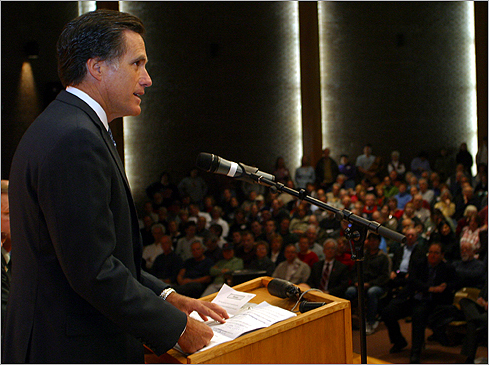 July 2004: Governor Mitt Romney, a wind farm opponent, said changes to the state's coastal boundary would place part of the proposed wind farm in state waters, giving the state more jurisdiction over the project. Cape Wind later altered the project's footprint so it remains in federal waters. Romney addressed a meeting at Mattacheese Middle School in West Yarmouth regarding the Cape Wind proposal in December 2004.