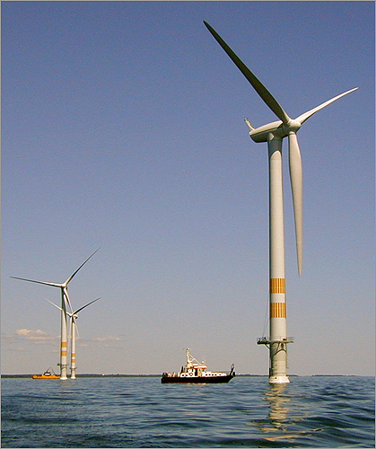 Proponents and opponents of Cape Wind, the proposed 130-turbine wind farm in Nantucket Sound, have struggled over the issue for nearly a decade. Today, though, U.S. Interior Secretary Ken Salazar will announce official federal approval for the project . Click through this gallery for a timeline of the protracted Cape Wind battle. This July 2002 photo is an artist's conception of the proposed wind farm.