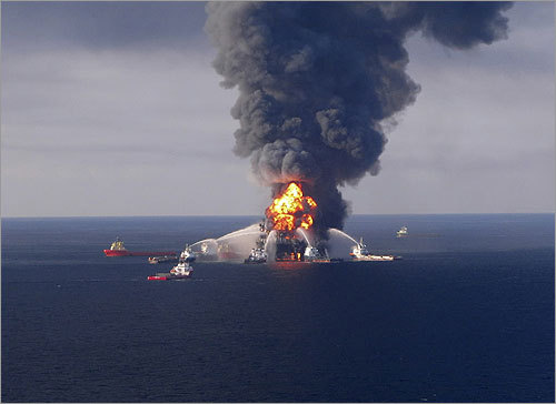 An explosion at BP's Deepwater Horizon rig on April 20, 2010, in the Gulf of Mexico killed 11 workers and triggered the largest oil spill in US history. Millions of gallons of oil continued to leak until July 15, 2010. Click through to see more scenes from the long disaster. Read more: One year after the Gulf oil disaster Fire boat response crews battled the blazing remnants of the off shore oil rig Deepwater Horizon on April 20, 2010.