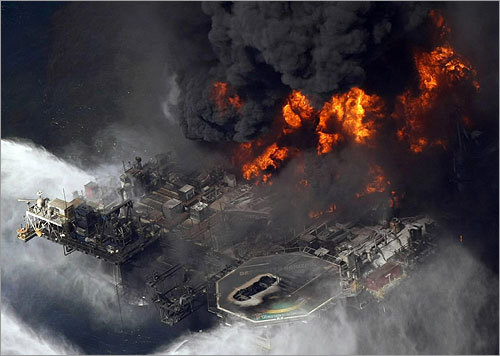 An April 21, 2010, aerial photo of the Deepwater Horizon oil rig after it exploded.