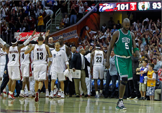 As the Cavaliers celebrated a shot by LeBron James that put the game away for the Cavs, the Celtics Kevin Garnett headed for the bench for a time out. The Cavaliers defeated the Celtics in Game 1 of their Eastern Conference semifinal playoff series Saturday at Quicken Loans Arena in Cleveland.