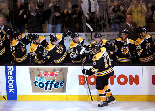 Milan Lucic was congratulated by teammates on the bench after scoring late in the third period to give the Bruins a 3-2 lead.