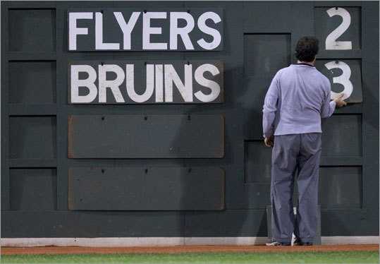 Meanwhile at Fenway Park, fans were informed of the Bruins' victory via the scoreboard on the left-field wall.