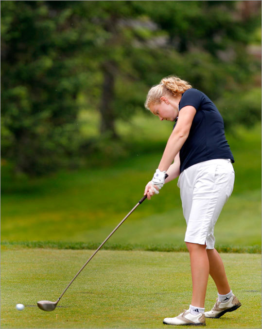Elizabeth Rubino of Bishop Feehan teed off on the 12th hole at the MIAA State Girls Individual Golf Championship held at the Woodland Country Club in Newton Monday. Rubino finished in second place after shooting an 82.