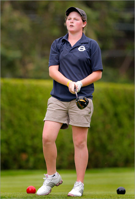Scituate's Mary Mulcahy watched her tee shot on the 16th hole at the MIAA State Girls Individual Golf Championship.
