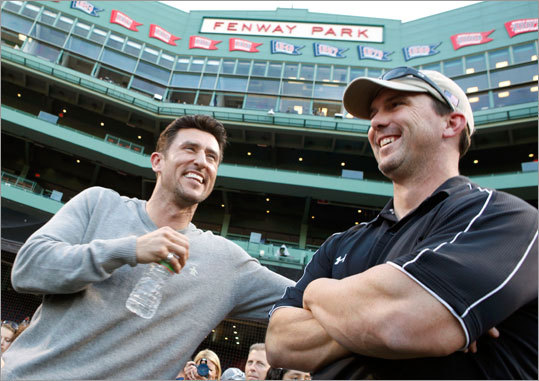 Former Boston Red Sox players Nomar Garciaparra, left, and Trot Nixon, talked before the start of a baseball game between the Red Sox and the Los Angeles Angels, Wednesday, May 5, 2010. Garciaparra is due to be honored in a pre-game ceremony.