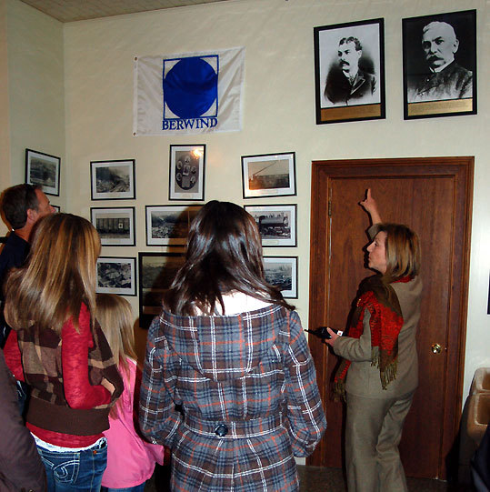 Caldwell discusses two photos of The Elms' original owner, coal magnate Edward J. Berwind, on a behind-the-scenes tour of the mansion.
