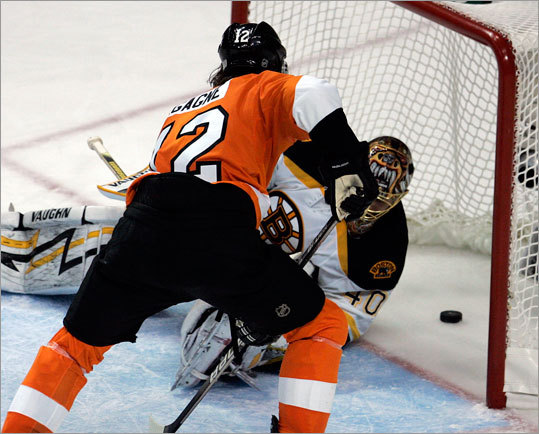 Simon Gagne slid the game-winner past Tuukka Rask from just outside the crease.