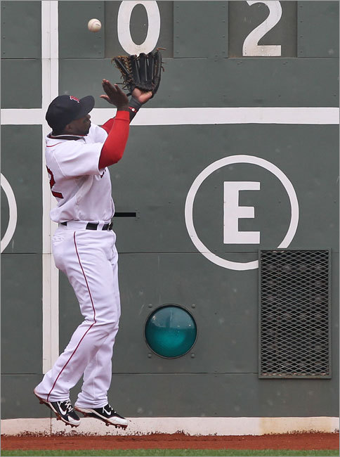 The Red Sox' Bill Hall couldn't catch a hit by the New York Yankees' Ramiro Pena in the third inning. The shot turned into a double for Pena.