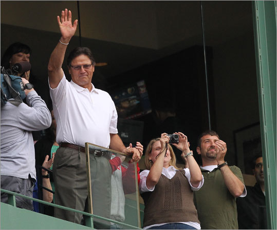 Boston Red Sox legend Carlton Fisk waved to the crowd during the fifth inning.
