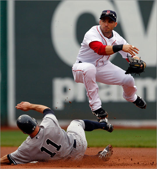 New York Yankees' Brett Gardner (11) is forced out at second base as Sox' Marco Scutaro throws to first for a double play in the first inning Saturday.