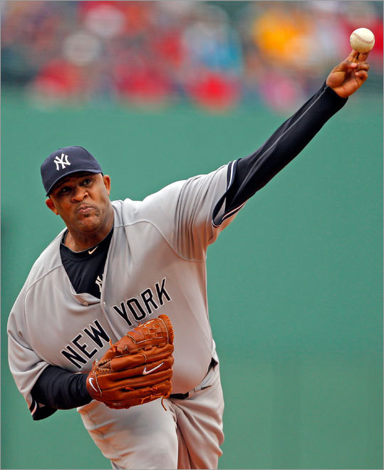 New York Yankees starting pitcher CC Sabathia fired one off the mound in the first inning.