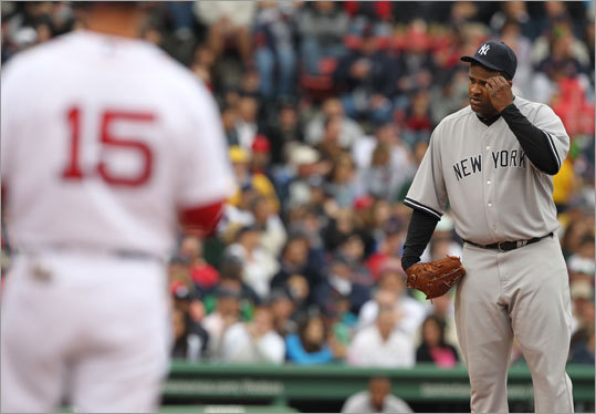 C.C.Sabathia had to scratch his head after hitting Boston Red Sox Dustin Pedroia with a pitch during the third inning.