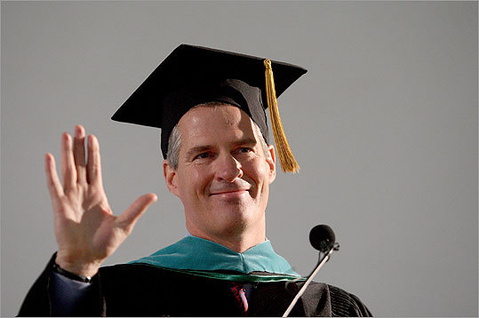 Senator Scott Brown delivered the commencement address today at Nichols College where 355 students were expected to graduate. Brown also received an honorary degree from the college in Doctor of Business Administration.