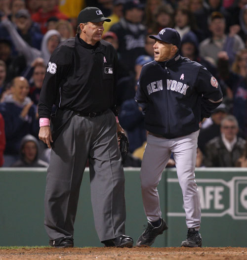 Yankees manager Joe Girardi was not in a good mood through the first three innings. He was ejected during fourth inning for arguing balls and strikes with home plate umpire Tim McClelland after Marcus Thames was called out looking.