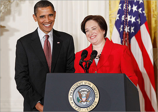 President Barack Obama and Elena Kagan were jubilant at a reception the day after The US Senate confirmed the former Harvard Law School Dean as the 112th justice to the United States Supreme Court. Said the president: 'It was a good day.'