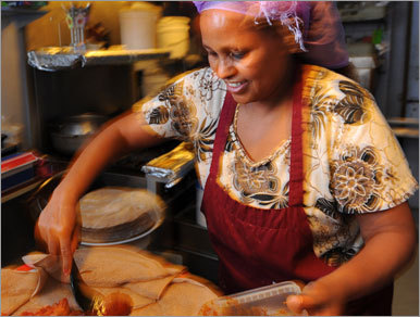 Step into chef-owner Asmeret Teklu's Asmara ( 51 Oak St., 207-253-5122 ), and be transported to East Africa. Traditional Eritrean and Ethiopian dishes, a mix of mild to spicy curried stews and vegetarian plates, are served on injera, spongy flat bread made from teff flour that doubles as an eating utensil (silverware is available, if you ask). Entrees ($9-$14) are generous and come with a salad and choice of vegetable. Service is leisurely; this is a one-woman show.