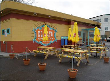 Have a hankering for Mexican? El Rayo ( 101 York St., 207-780-8226, www.elrayotaqueria.com ), a onetime gas station converted to a festive tacqueria, serves chilaquilles, quesadillas, tacos, burritos, and rice and bean bowls ($3.25-$10.95). Portions are on the small side, so order a selection and share. It's equally popular as a watering hole, although many of the favorites — margaritas, tequila flights, sangria, or nonalcoholic refrescos — are budget busters. It's not on the waterfront, but you can see the harbor from the umbrella tables dotting the parking lot.