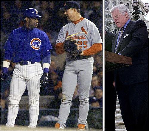Ted Kennedy, the late US senator from Massachusetts, did a number on the names of baseball sluggers Mark McGwire and Sammy Sosa. At a 1998 ceremony, Kennedy referred to the players as 'Mike McGwire and Sammy Sooser.'