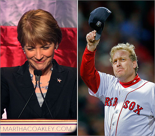 Brown's opponent in the US Senate race, Martha Coakley, had her own 'ionic' moment. On a Boston radio show, Coakley referred to former Red Sox pitcher Curt Schilling as 'another Yankee fan.' Schilling, of course, is remembered for his 'bloody sock' and his masterful pitching performances in the 2004 ALCS (against the Yankees) and World Series, a key contributor to the team's first championship in 86 years.