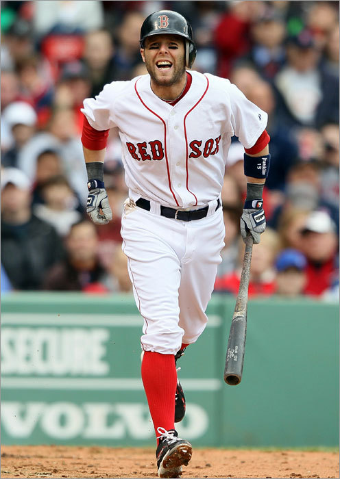Pedroia stayed in the game and jogged down to first base.