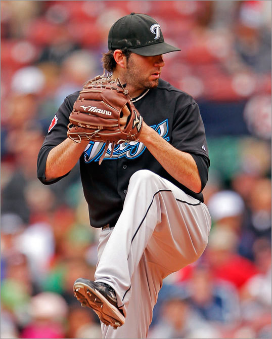 Shaun Marcum started for the Blue Jays and pitched well, shutting out the Red Sox on two hits in seven innings.