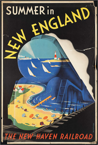 Check out some of the images from the Boston Public Library's exhibit of vintage travel posters, 'Away We Go.' Promoting summer in New England, circa 1910-59