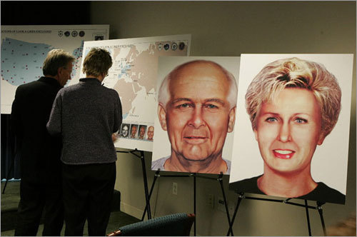 Left: Jan. 4 marked Bulger's 16th anniversary as a fugitive. The FBI says its worldwide manhunt got a boost last year from an appeal to plastic surgeons and dentists to be on the lookout for the elderly gangster and his girlfriend.
