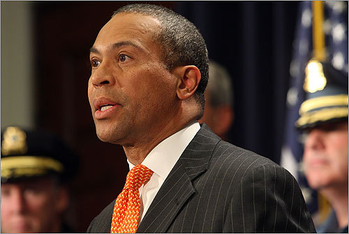 Governor Patrick and other state officials spoke to the media about the FBI raids in Watertown and Brookline.