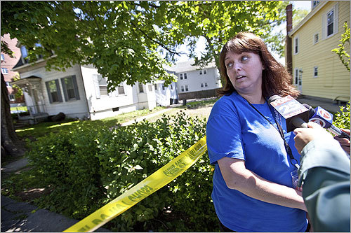 Barbara Lacerra, who caught the arrest of a single man on video, spoke to the media in front of the Watertown home that was raided by the FBI.