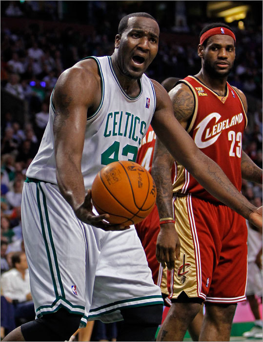 The Celtics' Kendrick Perkins couldn't believe a first-half foul was called on him. LeBron James is at right.