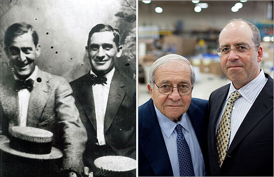 Above left, company founder Harry Miller is pictured on the right. Above right, Sydney Miller (left) and his son, Hank, at the Harry Miller Co. in Roxbury.
