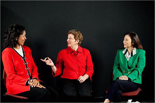 Left to right, TD Bank chief regulatory officer Agnes Bundy Scanlon, Sonesta International Hotel Corp. chief executive Stephanie Sonnabend, and Lau technologies chief executive Joanna Lau.