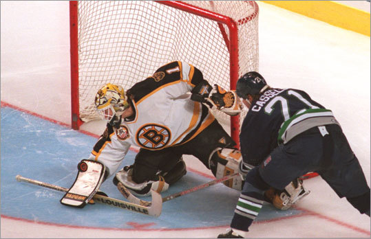 April 17, 1990: Bruins 3, Whalers 1 The Bruins made it all the way to the Stanley Cup Final in 1990, but nearly didn't get past their first round against the Whalers (pictured in 1996), their former Adams Division rivals. The Bruins won a crucial Game 4, 6-5, after falling behind, 5-2, then seized the advantage in Game 5 with a 3-2 victory. Hartford won Game 6 in overtime, 3-2, before the Bruins closed out the series. The Bruins went on to defeat the Canadiens in the division finals and the Capitals in the conference finals before losing to Edmonton, 4-1, in the Stanley Cup Final.