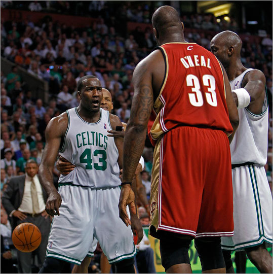The Cavaliers' Shaquille O'Neal and the Celtics' Kendrick Perkins each got a technical foul for this little dust up.