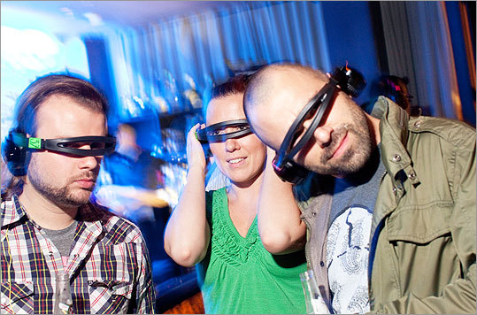 Nick Rodrigues, Robin Alger, and Josh Falk did their best Geordi La Forge impressions at the Silent Disco. 'You can make a fashion statement and listen to music at the same time,' Algier said, laughing.