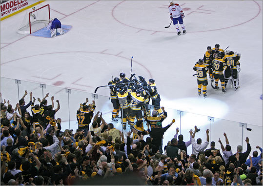 April 27, 2011: Bruins 4, Canadiens 3 (OT) After falling behind, 2-0, in their first-round playoff series, the Bruins won the next three to take a 3-2 lead. But Montreal won Game 6 in Canada and set up a decisive game in Boston. The Canadiens got a goal from P.K. Subban with 1:57 left in the third to send it to overtime tied 3-3, but Horton beat Canadiens goalie Carey Price with a blast at 5:43 of OT to lift the Bruins. Video: Bruins fans on edge of their seats