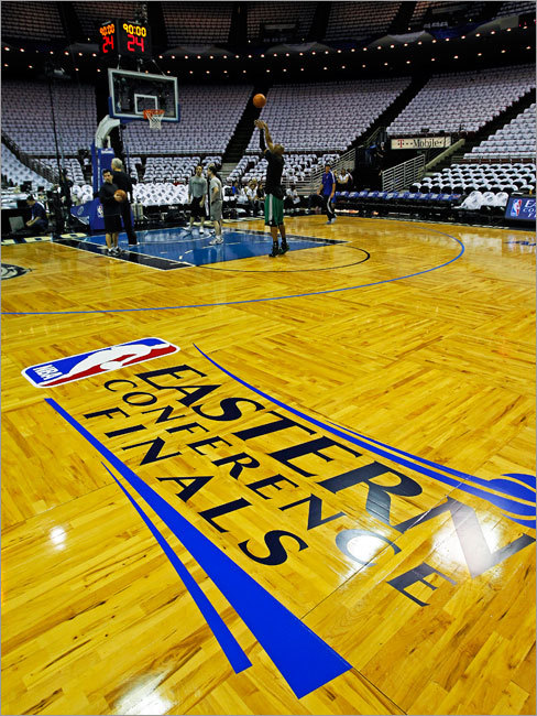The court at Amway Arena is ready for the start of the Eastern Conference Finals, as the Celtics Ray Allen was out shooting early, getting ready for today's game.