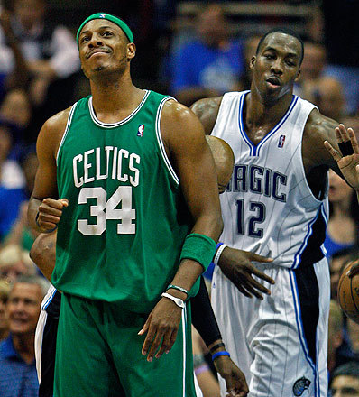 The Celtics' Paul Pierce had a look of satisfaction while Orlando's Dwight Howard looked displeased after a ball was ruled to have gone out of bounds off Howard. The expressions essentially told the story of the teams today.